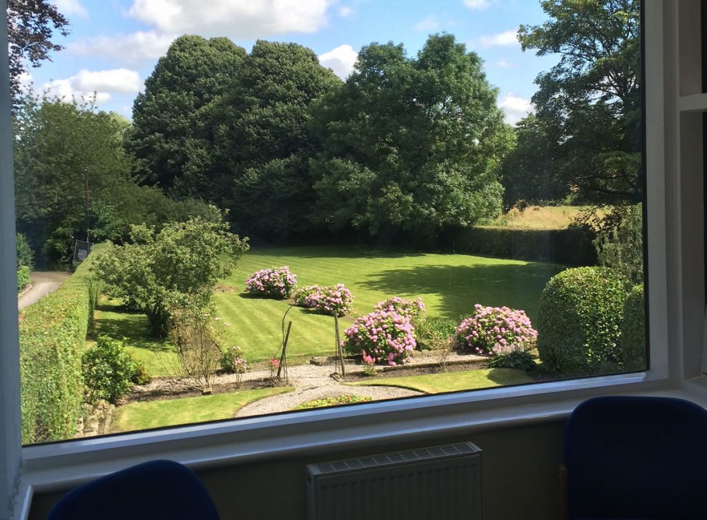 Image showing beautiful garden view from the dental chair